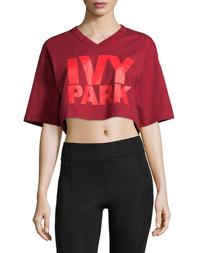 Ivy Park Logo Crop Tee-RED-Medium