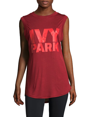 Ivy Park Graphic Tank Top-RED-Medium
