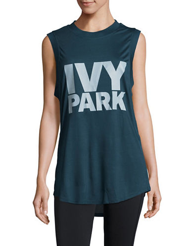 Ivy Park Long-Line Logo Athletic Tank-GREEN-X-Small