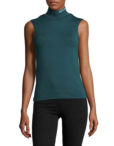 Ivy Park Logo Roll Neck Crop Tank-TEAL-Medium
