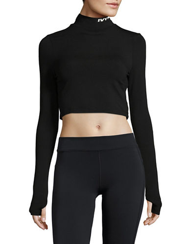 Ivy Park Backless Turtleneck Cropped Sweater-BLACK-X-Large