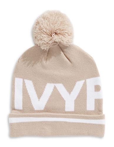 Ivy Park Ribbed Logo Pom-Pom Beanie-BEIGE-One Size
