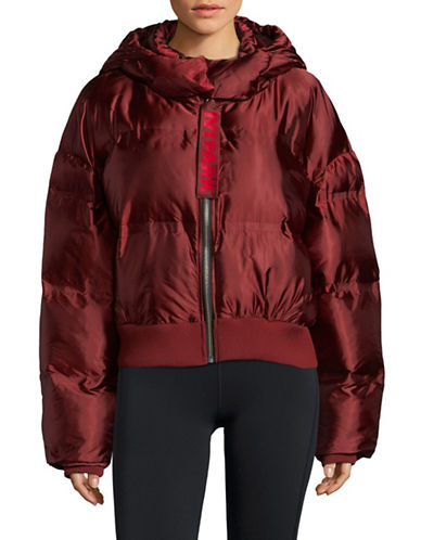 Ivy Park Bonded Cropped Puffer Jacket-RED-Large