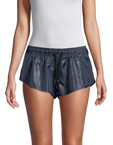 Ivy Park Wet Look Shorts-BLUE-Large