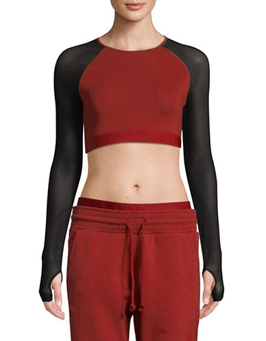 Ivy Park Mesh-Sleeve Cropped Top-RED-Small