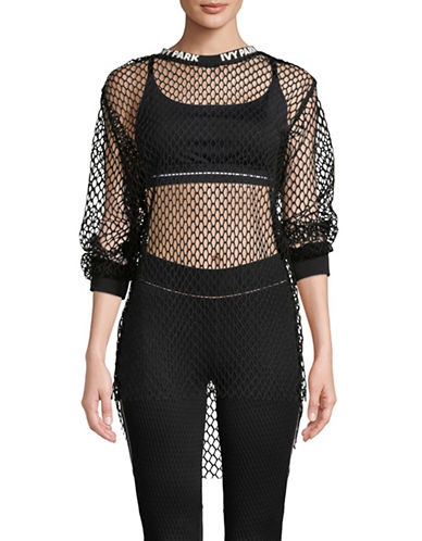 Ivy Park Mesh Long-Sleeve Tee-BLACK-X-Large