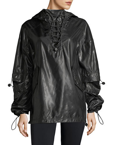 Ivy Park Hi Shine Lace-Up Jacket-BLACK-X-Small 89893351_BLACK_X-Small