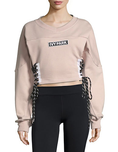 Ivy Park Lace-Up Cropped Sweatshirt-SHADOW GREY-Large 89893394_SHADOW GREY_Large