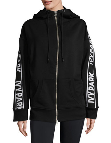 Ivy Park Logo Tape Full-Zip Hoodie-BLACK-X-Small 89796621_BLACK_X-Small