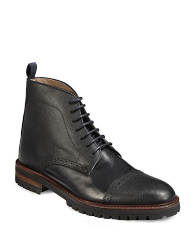 Sweeney London Saffiano Grain Boots-BLACK-UK 6/US 7