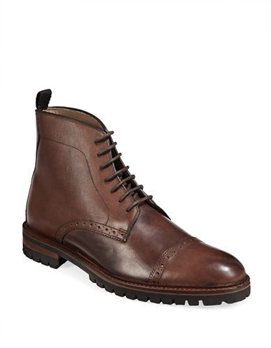 Sweeney London Saffiano Grain Boots-BROWN-UK 11/US 12