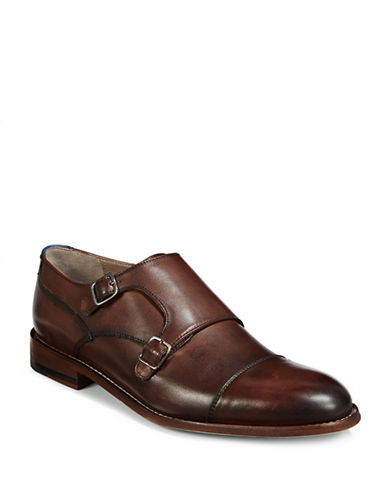 Sweeney London Alborne Double Monk Strap Dress Shoes-BROWN-UK 8/US 9