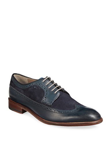 Sweeney London Ossington Leather Wingtip Derby Shoes-NAVY-UK 12/US 13