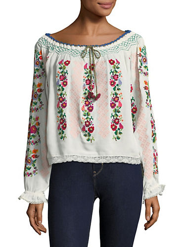 Needle & Thread Cross Stitch Flower Top-WHITE-Medium 89936275_WHITE_Medium