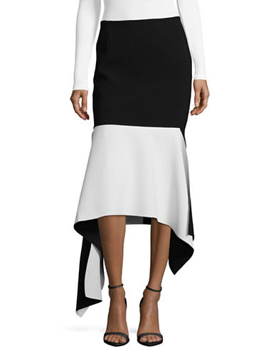 Marques Almeida Double Faced Crepe Skirt-BLACK/WHITE-12