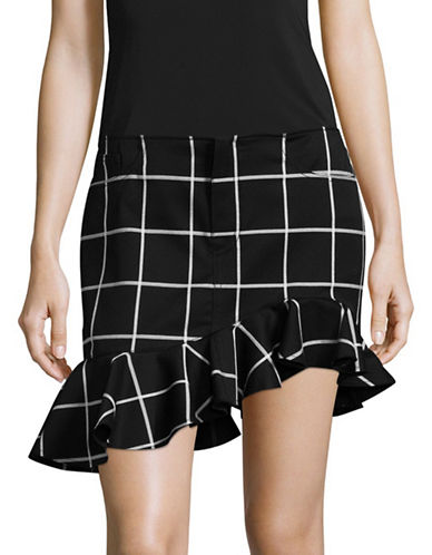 Marques Almeida Windowpane Mini Ruffle Skirt-BLACK-10
