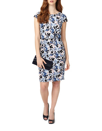 Phase Eight Pansy Print Sheath Dress-MULTI-UK 16/US 12