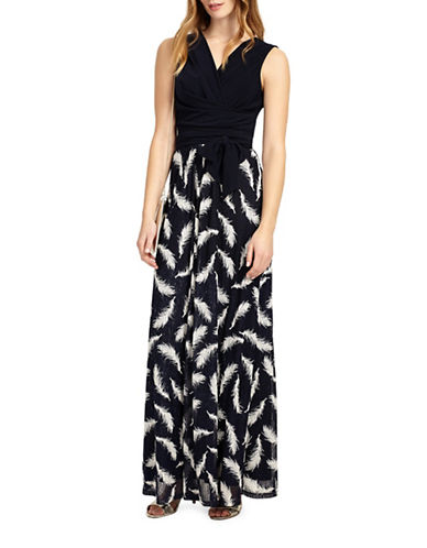 Phase Eight Feather Print Maxi Dress-NAVY-UK 12/US 8