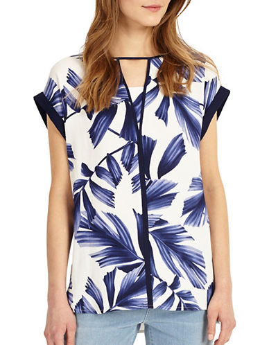 Phase Eight Printed Blouse-WHITE/ BLUE-UK 10/US 6