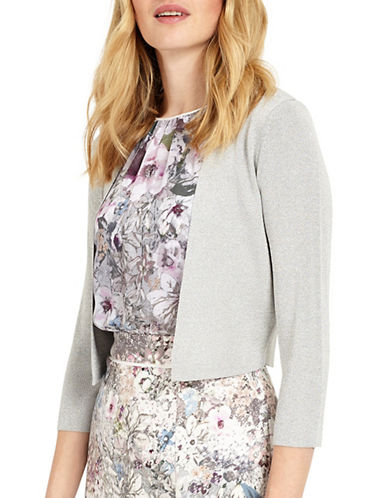Phase Eight Salma Shimmer Knit Cardigan-SILVER-UK 12/US 8