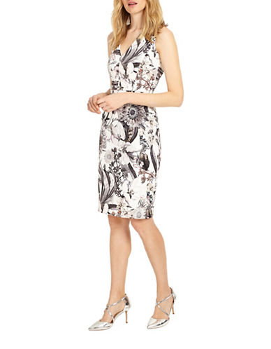 Phase Eight Botanical Print Sheath Dress-MULTI-UK 12/US 8