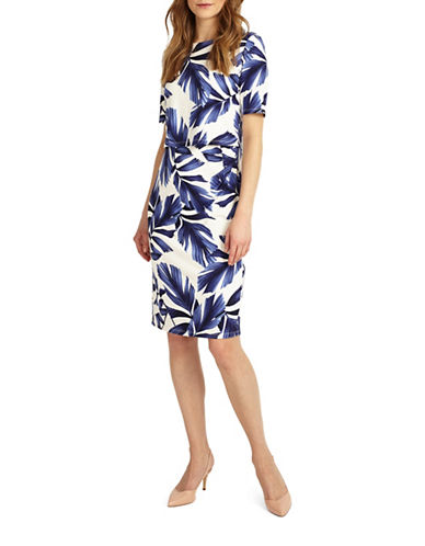 Phase Eight Eloise Palm Print Jersey Dress-WHITE/NAVY-UK 12/US 8