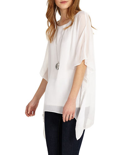 Phase Eight Maggie Asymmetric Silk Blouse-WHITE-UK 12/US 8
