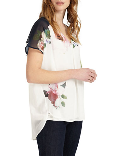 Phase Eight Floral-Printed Hi-Lo Blouse-MULTI-UK 14/US 10