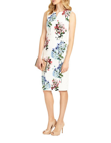 Phase Eight Hydrangea Print Sheath Dress-MULTI-UK 16/US 12