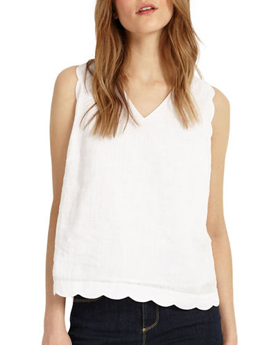 Phase Eight Scalloped Sleeveless Blouse-WHITE-UK 10/US 6