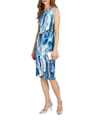 Phase Eight Brush Stroke Sheath Dress-BLUE-UK 16/US 12