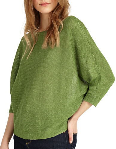 Phase Eight Delmi Batwing Knitted Linen Top-GREEN-2