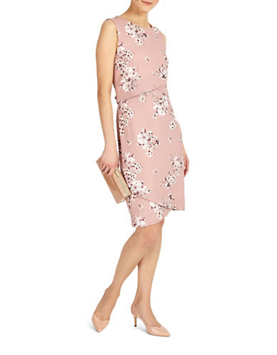 Phase Eight Flo Blossom Print Tiered Sheath Dress-PINK FLORAL-UK 14/US 10