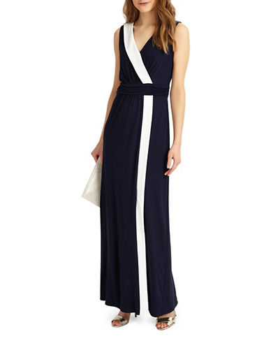 Phase Eight Colourblock Maxi Dress-NAVY-UK 18/US 14
