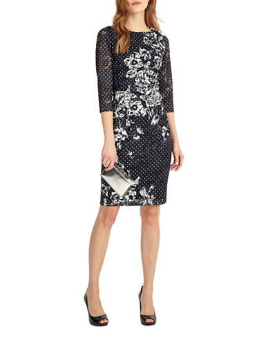 Phase Eight Lace-Printed Dress-BLUE-UK 18/US 14