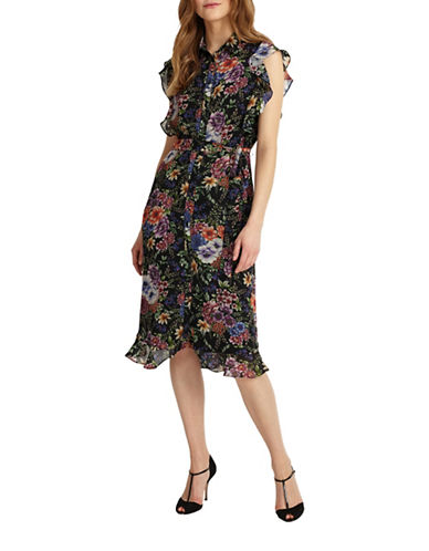 Phase Eight Ruffle Floral-Printed Dress-MULTI-UK 18/US 14