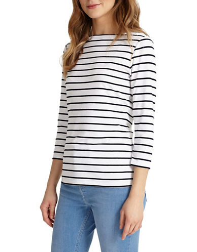 Phase Eight Stella Striped Three-Quarter Sleeve Top-WHITE-UK 18/US 14