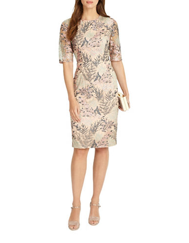 Phase Eight Fern Floral Shift Dress-BEIGE-UK 14/US 10