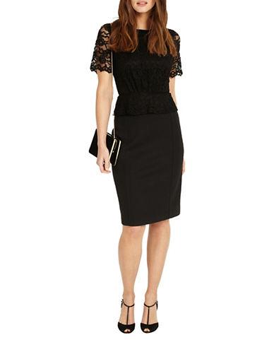 Phase Eight Halsey Lace Shift Dress-BLACK-UK 12/US 8