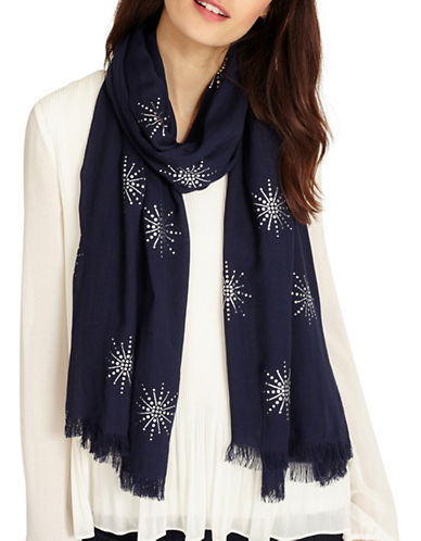 Phase Eight Star Frayed Scarf-NAVY-One Size
