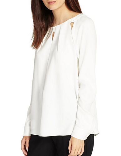 Phase Eight Printed Cut-Work Blouse-IVORY-UK 10/US 6
