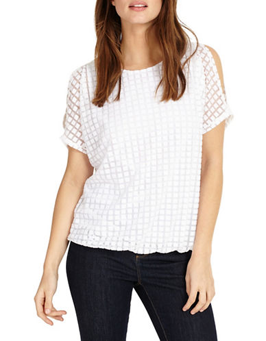 Phase Eight Saskie Square Burnout Top-WHITE-UK 14/US 10