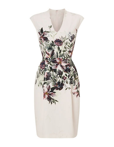 Phase Eight Jovanna Floral Knee-Length Dress-MULTI-UK 18/US 14