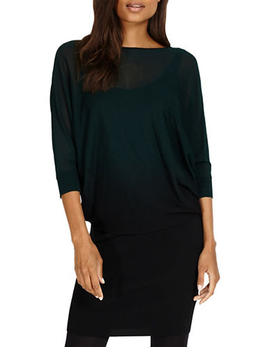Phase Eight Dip-Dye Becca Blouson Dress-GREEN-UK 18/US 14