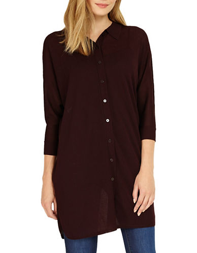 Phase Eight Geovana Knit Button-Down Shirt-WINE-UK 8/US 4