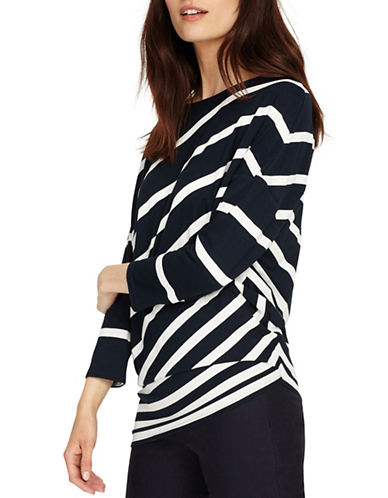 Phase Eight Amy Asymmetric Stripe Top-NAVY/WHITE-UK 8/US 4