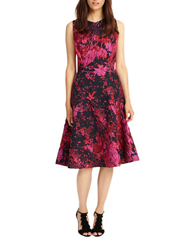 Phase Eight Fifi Abstract Fit-and-Flare Dress-FUCHSIA-UK 10/US 6