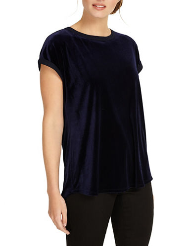 Phase Eight Addison Velvet Tee-BLUE-UK 12/US 8