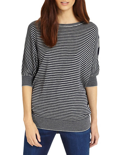 Phase Eight Becca Mix Stripe Batwing Top-NAVY-2