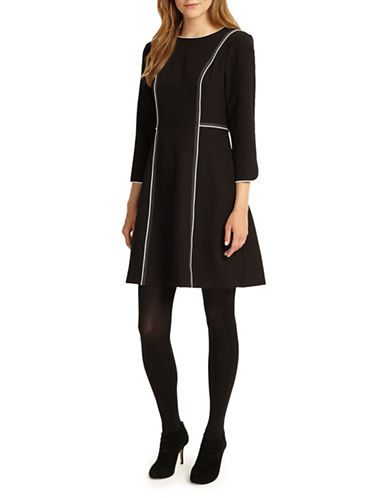 Phase Eight Piper Piped Fit-and-Flare Dress-BLACK/IVORY-UK 12/US 8